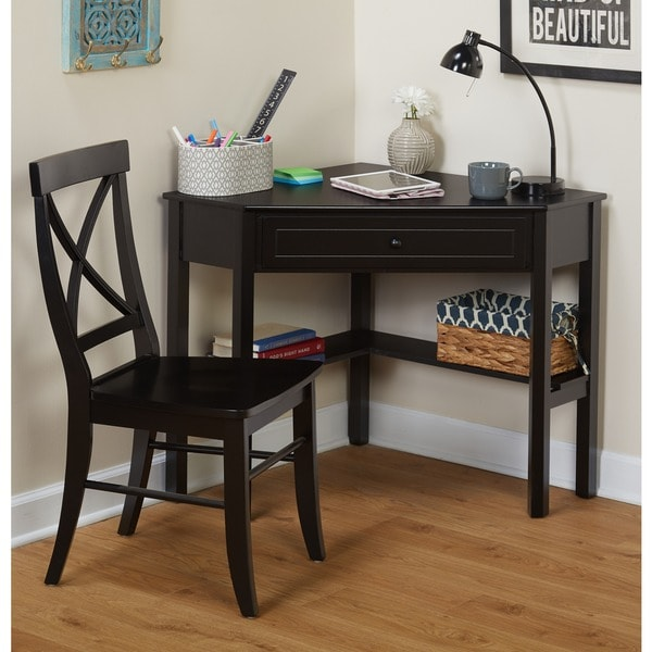 Simple Living Black Corner Desk And Crossback Chair 2 Piece Study Set