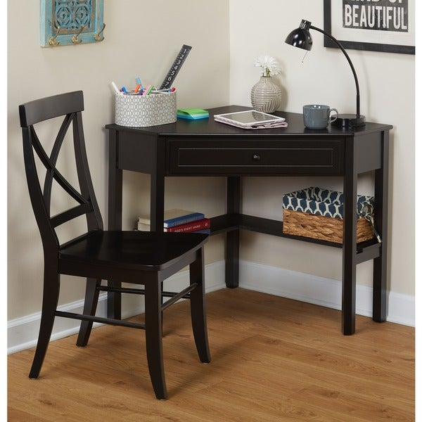 Simple Living Black Corner Desk and Crossback Chair 2-piece Study Set
