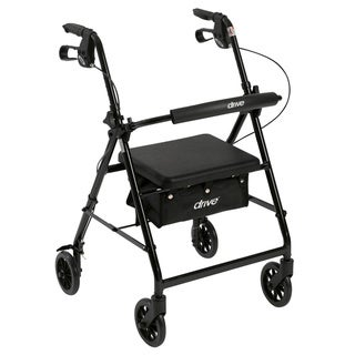 "Drive Medical Rollator Rolling Walker with 6"" Wheels, Fold Up Removable Back Support and Padded Seat (black)"