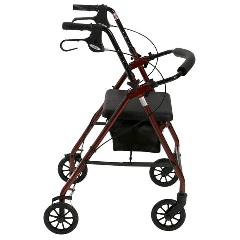 "Drive Medical Rollator Rolling Walker with 6"" Wheels, Fold Up Removable Back Support and Padded Seat"