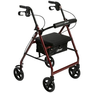 Drive Medical Aluminum Rollator Rolling Walker with Fold Up and Removable Back Support and Padded Seat (Red)