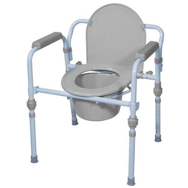 Drive Folding Bedside Commode Seat with Commode Bucket and Splash Guard