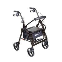 Drive Medical Duet Dual Function Transport Wheelchair Rollator Rolling Walker, Black