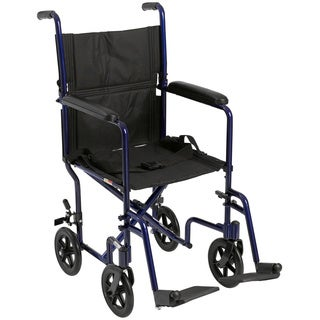 Deluxe Lightweight Aluminum Blue Transport Wheelchair