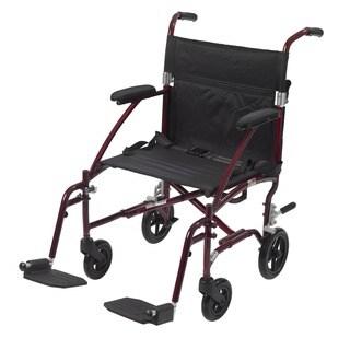 Drive Fly Lite Burgundy 19-inch Ultra Lightweight Transport Wheelchair