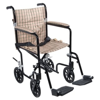 "Drive Medical Tan Plaid Flyweight 17 Aluminum Transport Wheelchair (Black Frame; Tan Upholstery - 19"")"