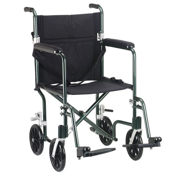 Drive Medical Green Flyweight 17 Aluminum Transport Wheelchair