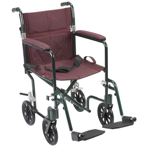 Drive Medical Flyweight 19 inch Lightweight Aluminum Transport Wheelchair