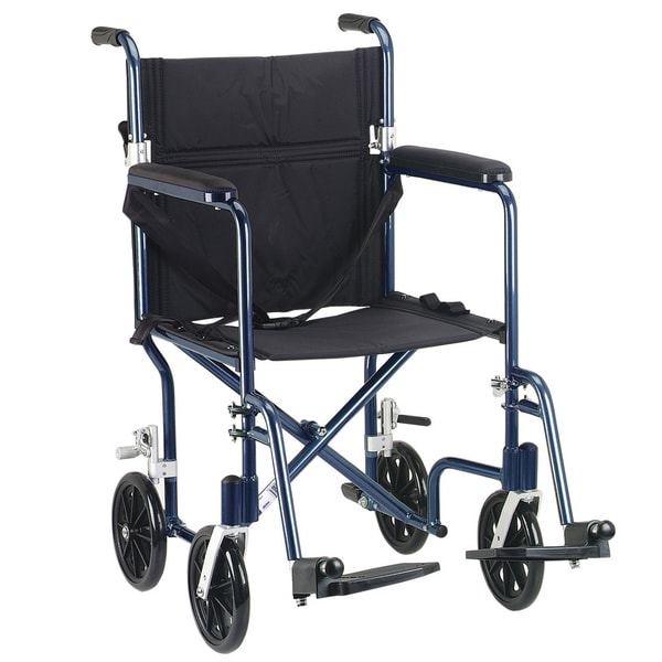 Drive Medical Blue Flyweight 19 Lightweight Aluminum Transport Wheelchair