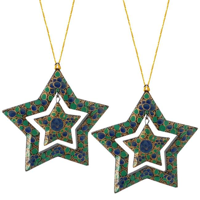 Set of 2 Paper Mache Blue Flower Star Christmas Ornaments (India)
