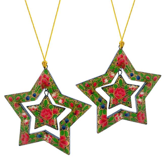 Set of 2 Paper Mache Flowers Star Christmas Ornaments (India)