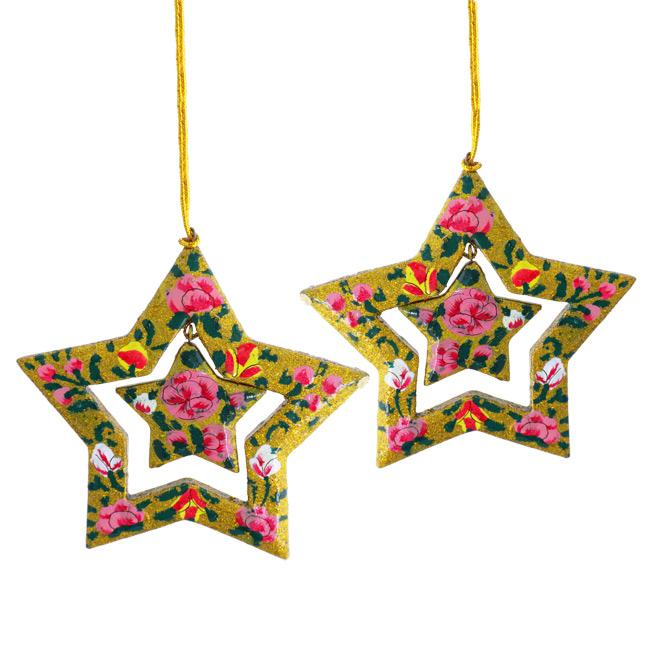 Set of 2 Paper Mache Gold Star Christmas Ornaments (India) - Thumbnail 0