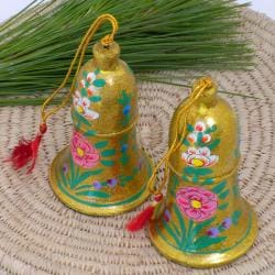 Set of 2 Paper Mache Gold Bell Christmas Ornament Bells (India)
