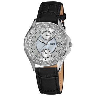 Burgi Women's Diamond Classic Stainless-Steel GMT Date Black-Strap Watch
