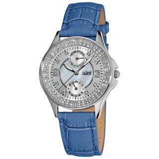 Burgi Women's Diamond Classic Stainless Steel GMT Date Blue Strap Watch https://ak1.ostkcdn.com/images/products/5274719/5274719/Burgi-Womens-Diamond-Classic-Stainless-Steel-GMT-Date-Strap-Watch-P13090332.jpg?impolicy=medium