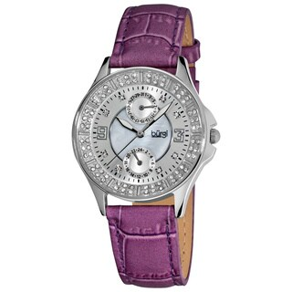 Burgi Women's Diamond Classic Stainless-Steel GMT Date Plum-Red Strap Watch