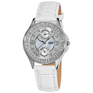 Burgi Women's Diamond Classic Stainless-Steel GMT Date White-Strap Watch