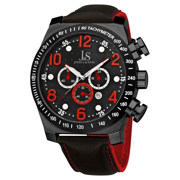 Joshua & Sons Men's Oversized Chronograph Stainless Steel Red Sport Watch