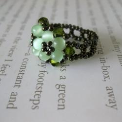 Handmade Crystal and Cat's Eye Beautiful Green Beaded Flower Ring (USA) - Thumbnail 1
