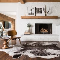 Faux Cowhide Grey/ Charcoal Brown Area Rug - 6'2 x 8'