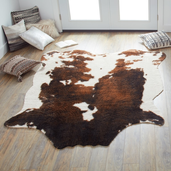 Shop Faux Cowhide Brown/ Beige Area Rug