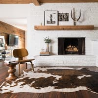 Faux Cowhide Brown/ Beige Area Rug - 6'2 x 8'