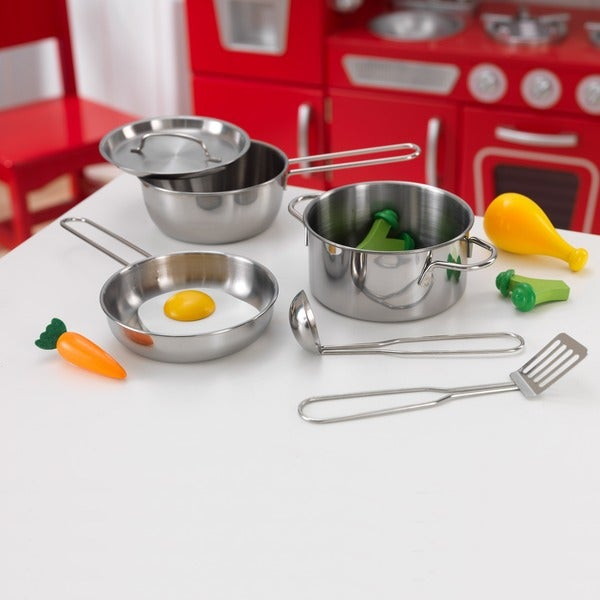 Kidkraft metal pots pans and play food set for little for Little kitchen set