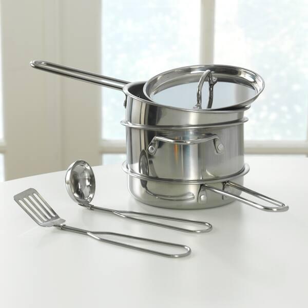 Shop KidKraft Metal Pots, Pans and Play Food Set for Little ...