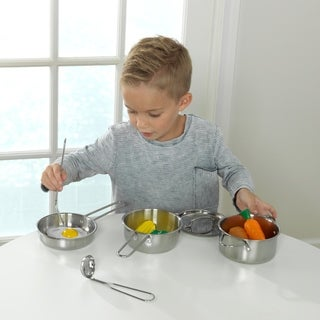KidKraft Metal Pots, Pans and Play Food Set for Little Chef's Kitchen