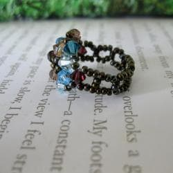 Crystal Blue and Brown Beaded Flower Ring - Thumbnail 1