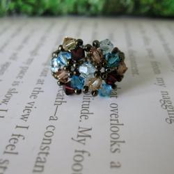 Crystal Blue and Brown Beaded Flower Ring - Thumbnail 2