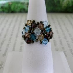Crystal Blue and Brown Beaded Flower Ring