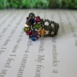 Crystal Multicolor Beaded Flower Ring - Thumbnail 1
