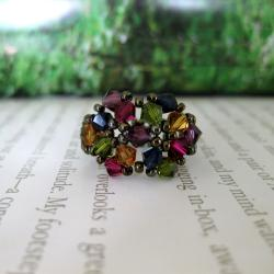 Crystal Multicolor Beaded Flower Ring - Thumbnail 2