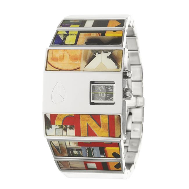 Nixon Men's 'The Rotolog' Stainless Steel and Enamel Quartz Watch
