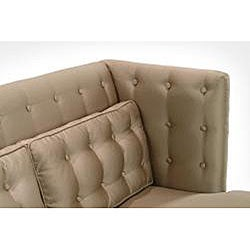 Modern Champagne Satin Fabric Love Seat