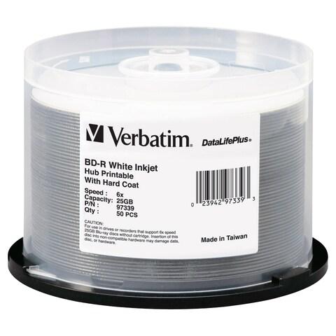 Verbatim BD-R 25GB 6X DataLifePlus White Inkjet Printable, Hub Printa