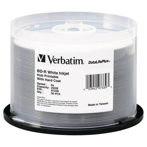 BD-R 25GB 16X DataLifePlus White Inkjet Printable, Hub Printable - 50pk Spindle