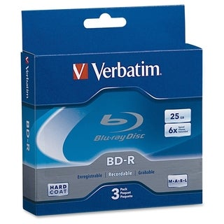 Verbatim BD-R 25GB 6X with Branded Surface - 3pk Jewel Case Box