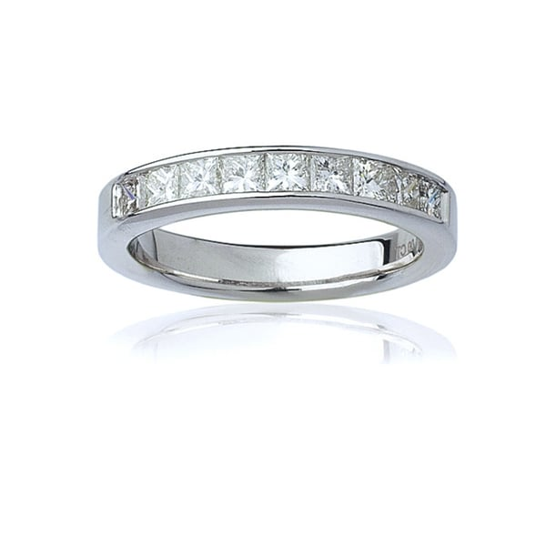 Montebello  14k White Gold Women's 1ct TDW Certified Princess-Cut Diamond Channel Wedding Band(G-H, SI3-I1)