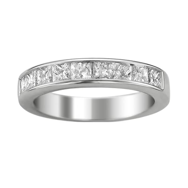 Montebello 14k White Gold Women's 1 1/2ct TDW Certified Diamond 9-stone Wedding Band