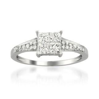 Montebello 14k White Gold 3/4ct TDW Diamond Composite Ring