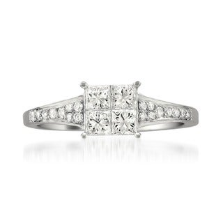 Montebello 14k White Gold 3/4ct TDW Diamond Composite Ring