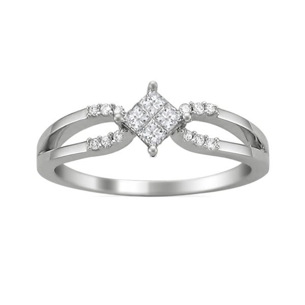 Montebello 14k White Gold 1/4ct TDW Princess Double Row Diamond Ring (G-H, SI2)