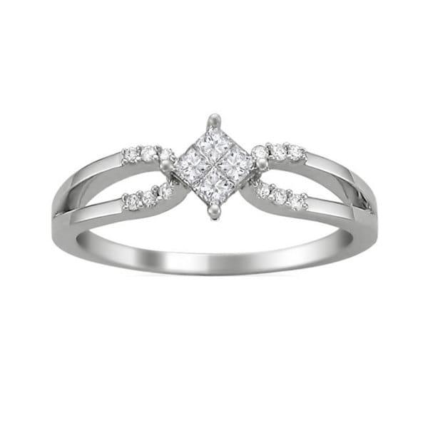 Montebello 14k White Gold 1/4ct TDW Princess Double Row Diamond Ring (G-H, SI2)