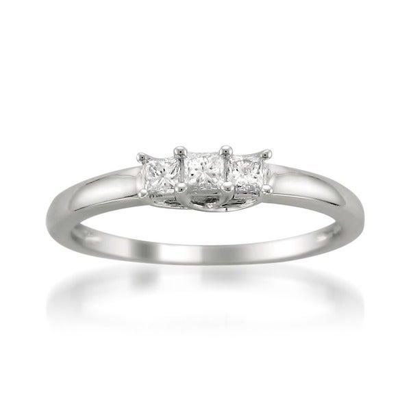 Montebello 14k White Gold 1/4ct TDW Three Stone Princess Cut Diamond Ring