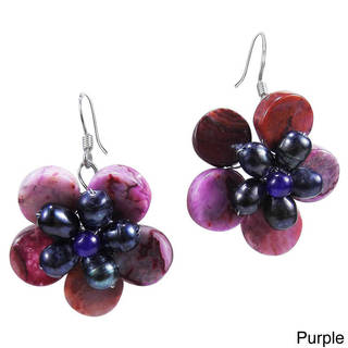 Handmade Sterling Silver Amethyst and Pearl Flower Earrings (Thailand)