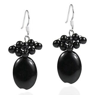 Handmade Sterling Silver Black Agate Beaded Earrings (Thailand)