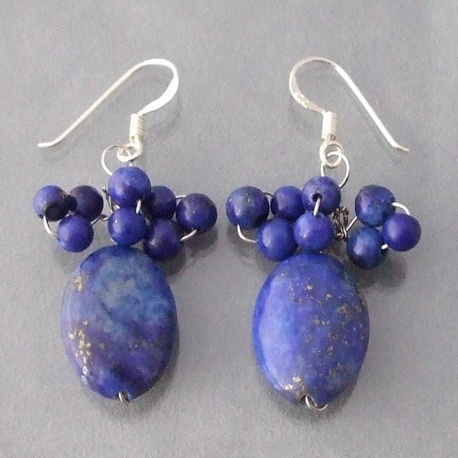 Sterling Silver Blue Lapis Beaded Earrings (Thailand)
