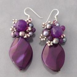 Handmade Sterling Silver Amethyst and Pearl Earrings (Thailand)